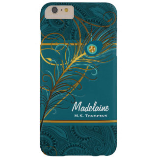 Coque Barely There iPhone 6 Plus Plumes de paon sur Paisley turquoise