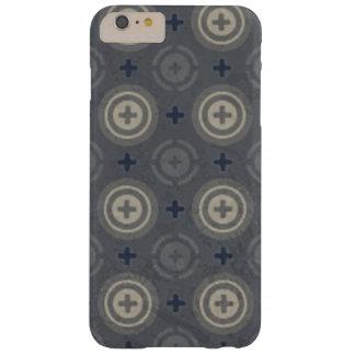Coque Barely There iPhone 6 Plus Rétro conception grunge bleue de point de polka