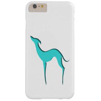 Coque Barely There iPhone 6 Plus Silhouette de turquoise de lévrier/whippet