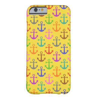 Coque Barely There iPhone 6 Rétro nautique de motif coloré d'ancre