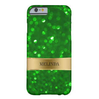 Coque Barely There iPhone 6 Scintillement vert élégant de Bokeh