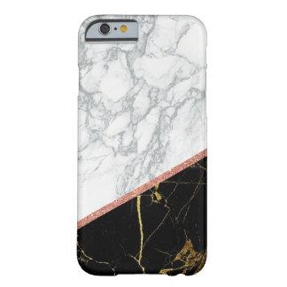 Coque Barely There iPhone 6 Style rose de marbre noir blanc moderne de