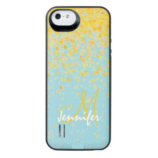 Coque Batterie Pour iPhone SE/5/5s Nom jaune d'or Girly d'ombre de turquoise de