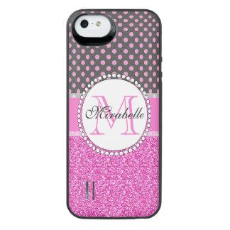 Coque Batterie Pour iPhone SE/5/5s Parties scintillantes roses et pois rose sur le