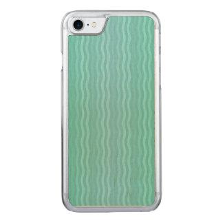 Coque Carved iPhone 8/7 Aigue-marine onduleuse de turquoise de rayures