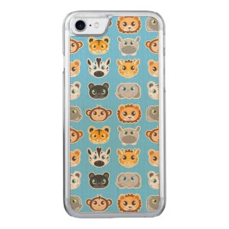 Coque Carved iPhone 8/7 Bleu mignon de motif d'animaux de jungle