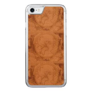 Coque Carved iPhone 8/7 Carte de Vieux Monde rouge-brun en cuir bronzée