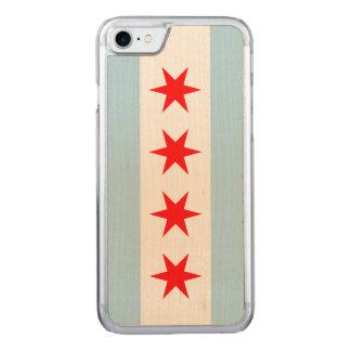 Coque Carved iPhone 8/7 Drapeau de Chicago - cas en bois