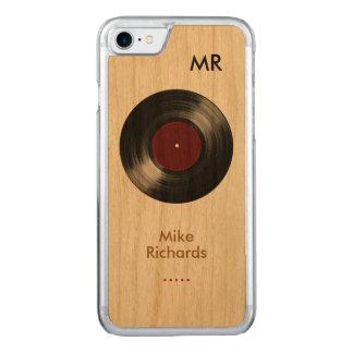 Coque Carved iPhone 8/7 iPhone 6 avec le disque vinyle sur le bois