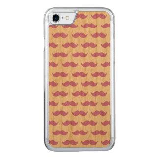 Coque Carved iPhone 8/7 Lilas mignon et motif blanc 1 de moustache