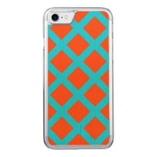 Coque Carved iPhone 8/7 Motif audacieux de carrés de bleu d'orange et de