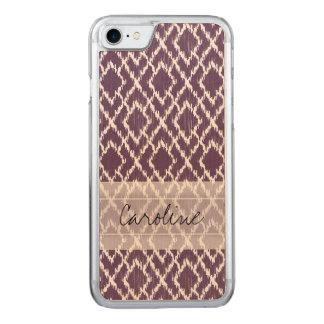 Coque Carved iPhone 8/7 Motif tribal pourpre de diamant d'Ikat de prune de