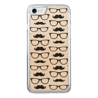 Coque Carved iPhone 8/7 Moustache de hippie et motif de point en verre
