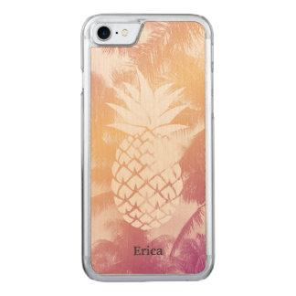 Coque Carved iPhone 8/7 Palmiers tropicaux de plage d'ananas