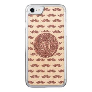 Coque Carved iPhone 8/7 Rougissent le motif rose de moustache de