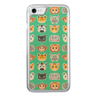 Coque Carved iPhone 8/7 Vert mignon de motif d'animaux de jungle