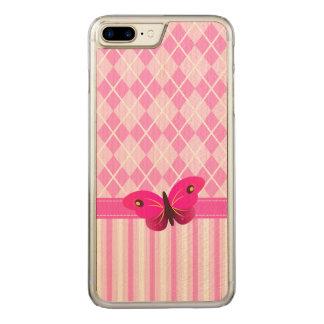 Coque Carved iPhone 8 Plus/7 Plus Jacquard rose et papillon en bois de motif de