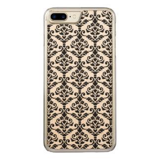 Coque Carved iPhone 8 Plus/7 Plus Noir de motif de damassé de Cresta sur le blanc