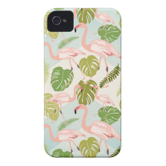 Coque Case-Mate iPhone 4 Hand drawn pink flamant and monstera leaves. Seam