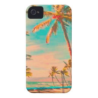 Coque Case-Mate iPhone 4 Scène hawaïenne vintage/sarcelle d'hiver de plage