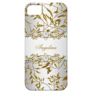 Coque Case-Mate iPhone 5 Image blanche argentée de bijou de diamant d'or de