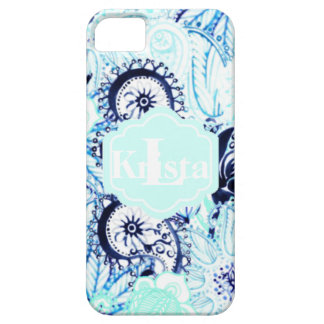 Coque Case-Mate iPhone 5 Monogramme nommé bleu de l'impression w/Full de