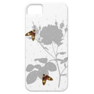 Coque Case-Mate iPhone 5 Roses et papillon, blanc et gris