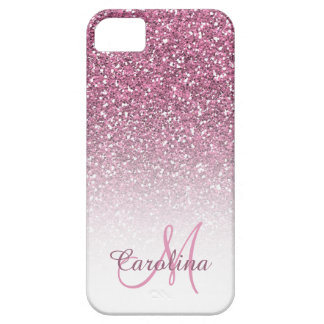 Coque Case-Mate iPhone 5 Scintillement, nom rose et monogramme, Girly