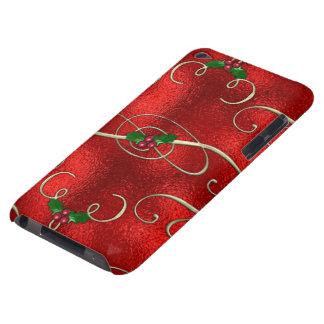 Coque Case-Mate iPod Touch Le joli or tourbillonne avec le houx et les baies