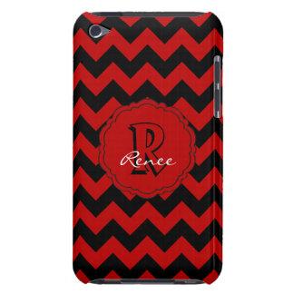 Coque Case-Mate iPod Touch Monogramme Chevron, caisse Rouge-Noire de Sc du
