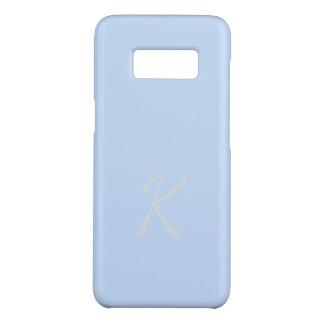 Coque Case-Mate Samsung Galaxy S8 Cas bleu-clair mou élégant décoré d'un monogramme