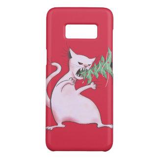 Coque Case-Mate Samsung Galaxy S8 Le gros chat blanc drôle mange l'arbre de Noël