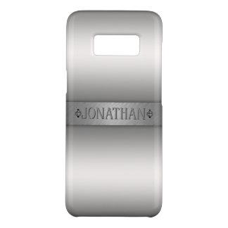 Coque Case-Mate Samsung Galaxy S8 Monogramme argenté de plaque signalétique d'argent