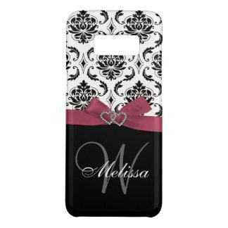 Coque Case-Mate Samsung Galaxy S8 Monogramme noir rose personnalisé Girly de damassé