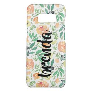 Coque Case-Mate Samsung Galaxy S8 Motif de fleurs de pêche et monogramme de