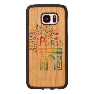 Coque En Bois Galaxy S7 Edge Conception au néon de Paris France   Arc de