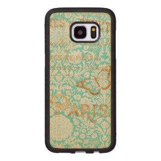 Coque En Bois Galaxy S7 Edge Conception vintage d'or de Paris avec le papillon
