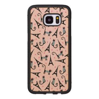 Coque En Bois Galaxy S7 Edge Le style français a habillé le chat avec le motif