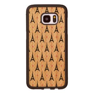 Coque En Bois Galaxy S7 Edge Motif de pois et de coeurs de Tour Eiffel