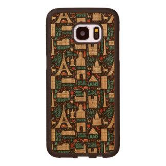 Coque En Bois Galaxy S7 Edge Motif de symboles de la France  