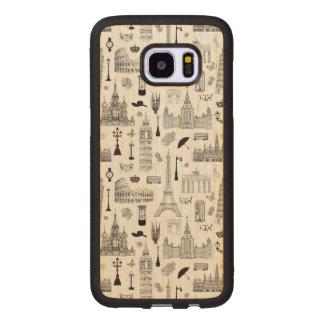 Coque En Bois Galaxy S7 Edge Vacances dans le motif de l'Europe