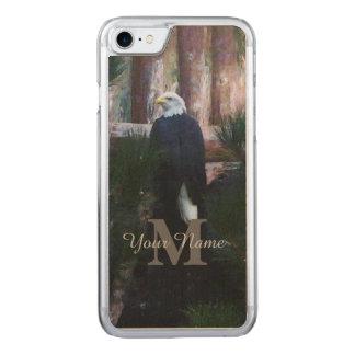 Coque En Bois iPhone 7 Aigle chauve et monogramme américains