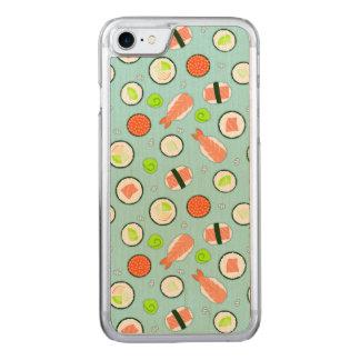 Coque En Bois iPhone 7 Bleu mignon de motif de sushi
