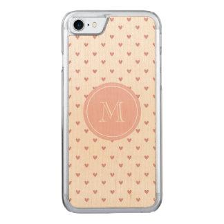 Coque En Bois iPhone 7 Coeurs de scintillement de rose rose de thé avec