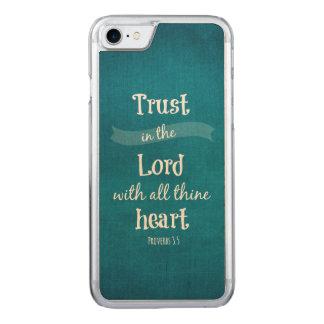Coque En Bois iPhone 7 Confiance dans le seigneur Bible Verse