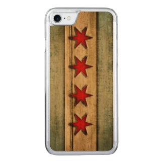 Coque En Bois iPhone 7 Drapeau vintage de Chicago affligé