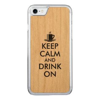 Coque En Bois iPhone 7 Gardez le calme et buvez sur le thé de café