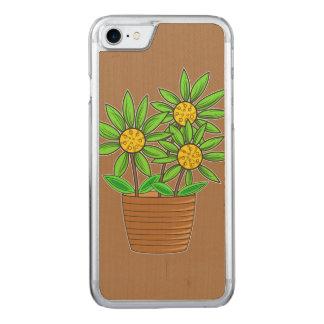 Coque En Bois iPhone 7 Illustration mise en pot de tournesol