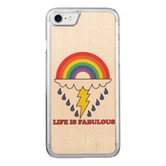Coque En Bois iPhone 7 La vie est fabuleuse
