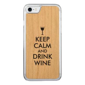 Coque En Bois iPhone 7 Maintenez amateur de vin calme et de boissons de